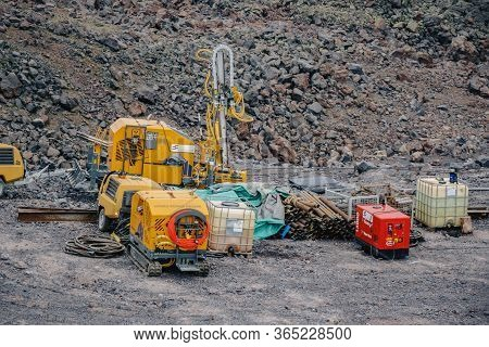 Working Equipment Stands In The Mountains Russia Stary Oskol 1 May 2020.