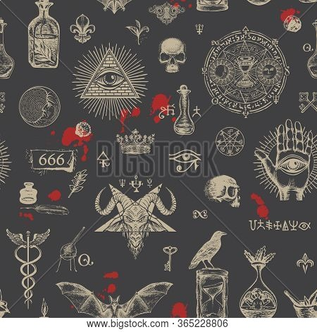 Vector Seamless Pattern On A Theme Of Satanism, Occultism And Freemasonry In Retro Style On Black Ba