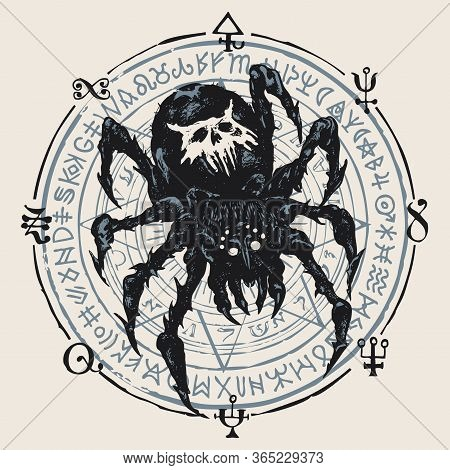 Decorative Illustration With A Big Black Spider On The Background Of A Circle With A Star And Unread
