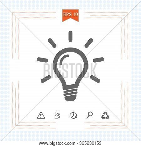 Light Bulb Icon Isolated On White. Line Vector Icon. Light Bulb Sign In Flat Style. Idea Bulb Images
