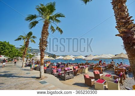 Bodrum, Turkey - May 1 2018: Embankment. Old Central Part Of Bodrum. Streets, Buildings And Architec