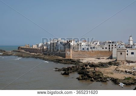Panoramic Aerial View Of Essaouira Ramparts In Essaouira, Morocco