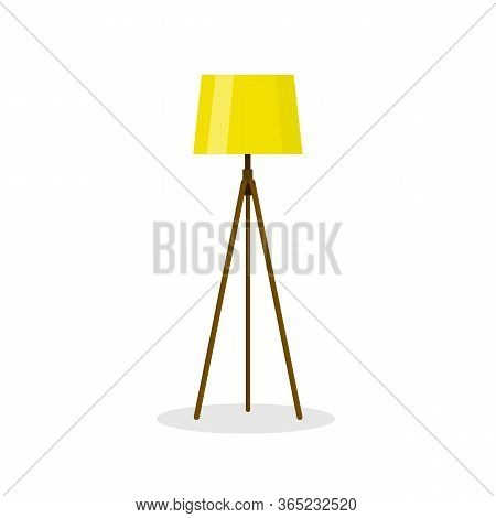 Yellow Outdoor Windlass On An Isolated White Background. Decorative Lamp For Home And Modern Interio