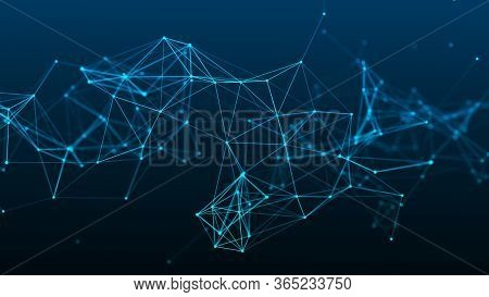 Network Of Bright Connected Dots And Lines. Abstract Dynamic Wave Of Many Points. Digital Background