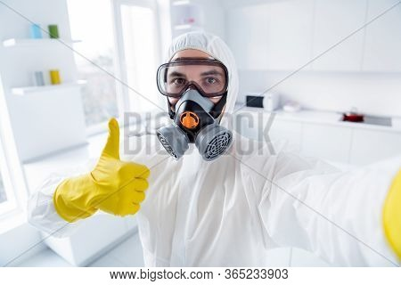 Close Up Photo Of Confident Worker Cleaner In Anti Covid19 Chemical Hazmat Suit Make Selfie Show Thu