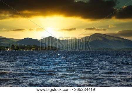 Loch Lomond in Scotland at sunset
