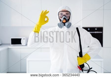 Portrait Of Confident Guy Show Okay Sign Latex Gloves Recommend Excellent Quality Stop Spreading Nco
