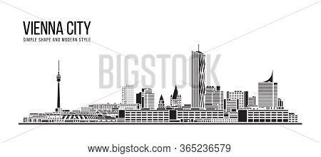 Cityscape Building Abstract Simple Shape And Modern Style Art Vector Design - Vienna City