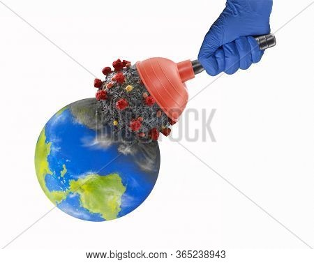 Doctor hand removing coronavirus molecule from planet earth using a toilet plunger.