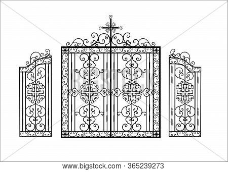 Wrought Iron Gates For A Temple Or Church. Christian Religion Pattern. The Fence Is Made Of Metal. A
