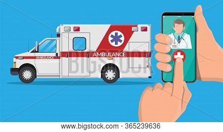 Call Ambulance Car Via Mobile Phone. Emergency Clinic Vehicle. Smartphone With Doctor And Medical Va