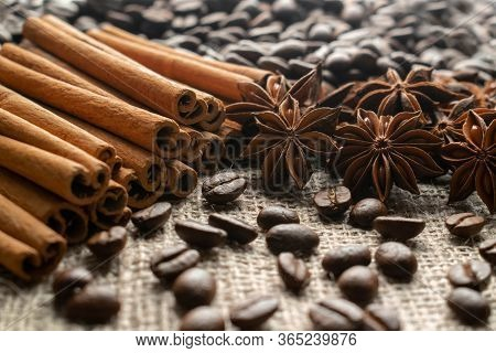 Coffee With Spices, Coffee Grains With Spices Cinnamon, Anise