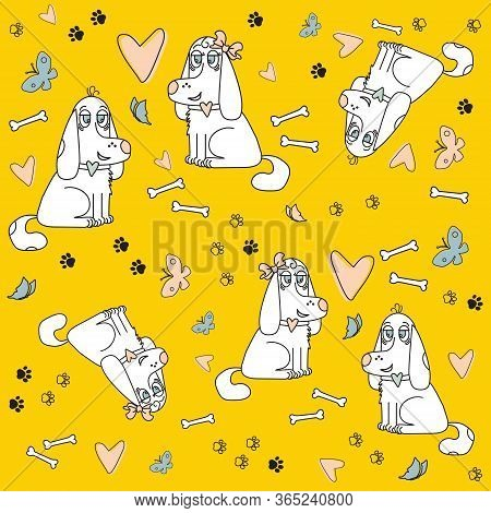 Dogs He And She On A Yellow Background Seamless Pattern With Butterflies, Heart And Bones