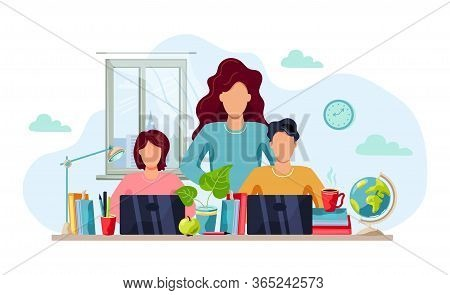 Home Learning, Home Activity Concept. Mother Is Helping Students To Do Homework. Vector Illustration