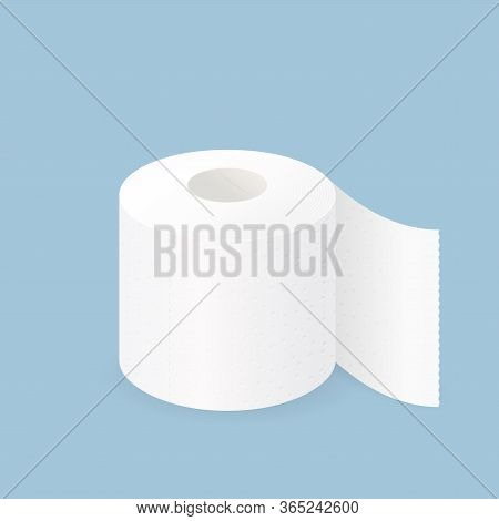 Toilet Paper Roll. Vector Realistic Perforated Tissue Towel, White Textured Paper Napkins For Wc, Ba
