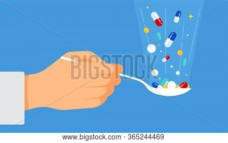 Pills For Treatment: A Tablespoon In Hand, Various Pills And Drops Fall Into A Spoon. The Concept Of