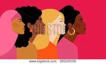 Diverse Multi-ethnic Women. Different Women: African, Asian, Chinese, European, Latin American, Arab