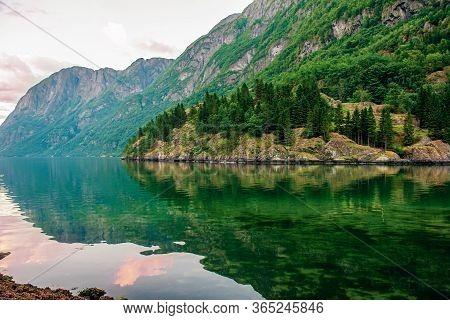 Beautiful Idyllic Mountain Landscape. Gudvangen, A Popular Tourist Village Located At The Beginning