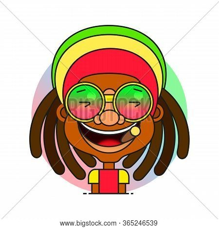 Face Symbol Of A Man With Dreadlocks Hairstyle For Rastafarian And Reggae Theme