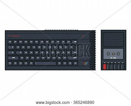Retro 80s Computer With Keyboard And Cassette Player. Line Style Outline Vector. Black Keyboard And