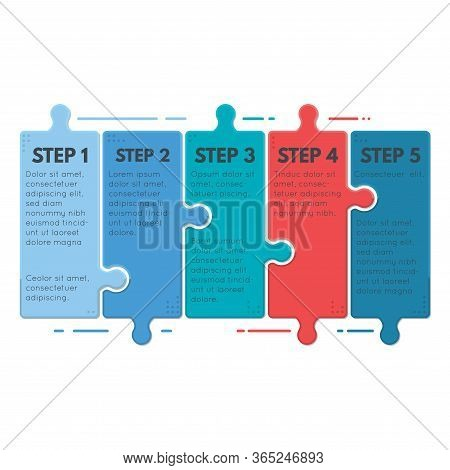 Puzzle Infographic Business Concept. Template For Business Project Presentation. Diagram With Five P