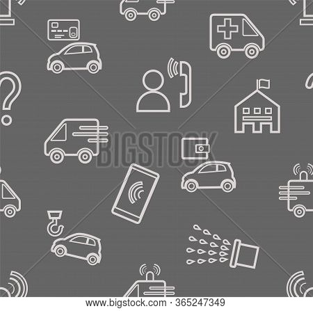 Emergency Services, Seamless Pattern, Contour Drawing, Gray, Color, Flat, Vector. Fine Outline Drawi