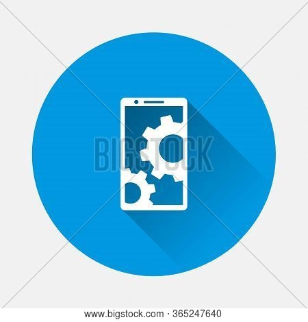 Vector Icon Payment Smartphone. Nfc Technology Icon On Blue Background. Flat Image With Long Shadow.
