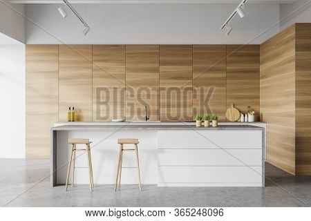 Interior Of Modern Kitchen With White And Wooden Walls, Concrete Floor, White Countertops With Built