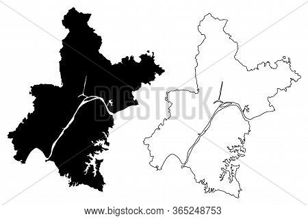 Wuhan City (people's Republic Of China, Hubei Province) Map Vector Illustration, Scribble Sketch Cit