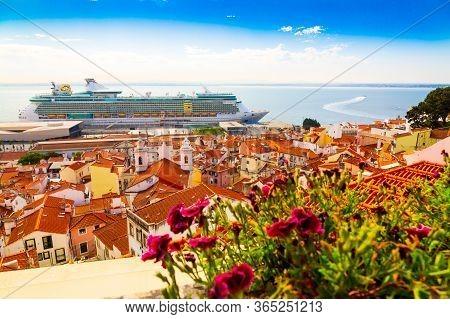 Miradouro De Santa Luzia View Point Over Alfama District And Tagus River In Lisbon, Portugal