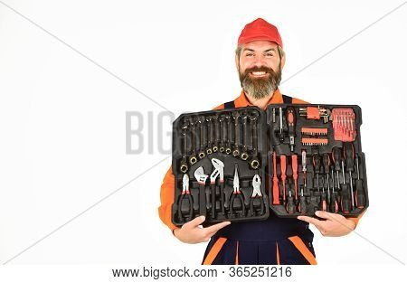 Electrician Tools. Worker Repairman Handyman Carrying Toolbox. Handyman Concept. Professional Equipm