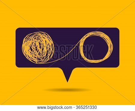 Concept Bubble Icon Showing The Unraveling Of A Tangled Line. Metaphor For A Mentor Or Coach In Prob