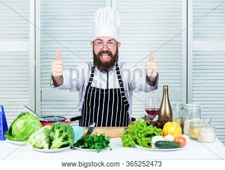 Get Ready. Man Bearded Chef Getting Ready Cooking Delicious Dish. Chef At Work Starting Shift. Guy I