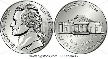 Jefferson Nickel, American Money, Usa Five-cent Coin With Us Third President Thomas Jefferson On Obv
