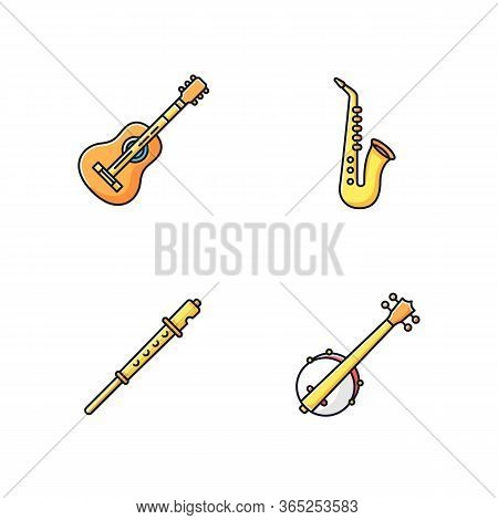 Orchestral Musical Instruments Rgb Color Icons Set. Acoustic Guitar. Banjo For Western Country Music
