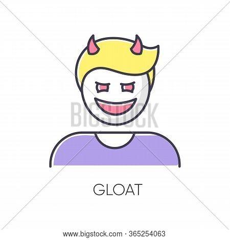 Gloat Rgb Color Icon. Evil Smile. Bad Attitude. Vicious Smirk. Scary Person. Negative Feeling. Devil