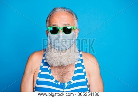 Closeup Portrait Of Attractive Funky Glad Gray Haired Old Man Spend Leisure Pool Party In Spite Of Q