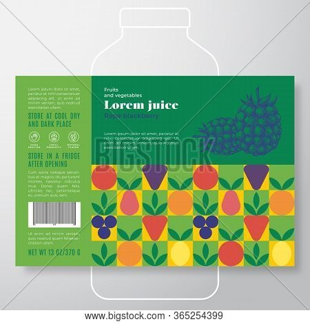 Fruit And Vegetables Pattern Juice Label Template. Abstract Vector Packaging Design Layout. Modern T