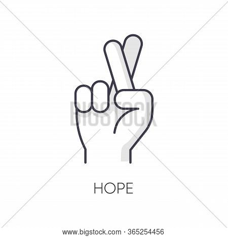 Hope Rgb Color Icon. Crossed Fingers For Luck. Optimistic Outlook. Positive Mental Attitude. Wish Of