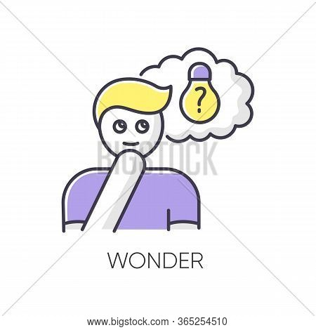 Wonder Rgb Color Icon. Curious Facial Expression. Inspirational Thought. Man With Creative Thinking.