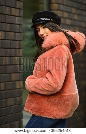 Winter Clothes. Stay Warm And Fashionable. Glamorous Lady. Woman Wear Furry Coat. Fashion As Unique