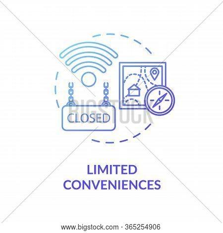 Limited Conveniences Blue Concept Icon. Country Living Inconvenience. Long Distance. Village Life Di