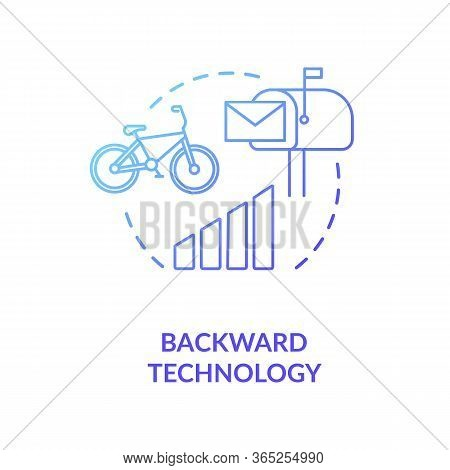 Backward Technology Blue Concept Icon. Country Living Disadvantage. Low Quality Transport. Village L