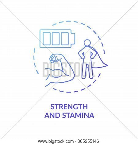 Strength And Stamina Blue Concept Icon. Psychical Energy. Exercise And Workout. Athletic Body. Healt