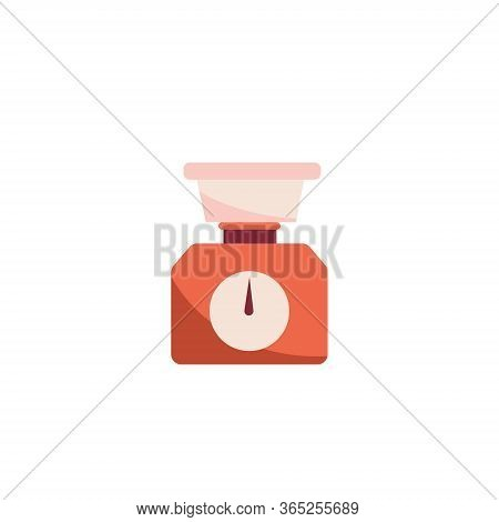 Domestic Weigh Scale Food Balance Vector Icon. Food Weight Kitchen Flat Illustration Isolated In Whi