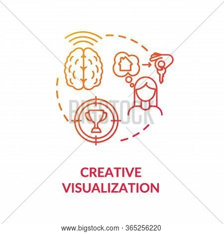 Creative Visualization Concept Icon. Self Growth, Goals Achievement Idea Thin Line Illustration. Pos