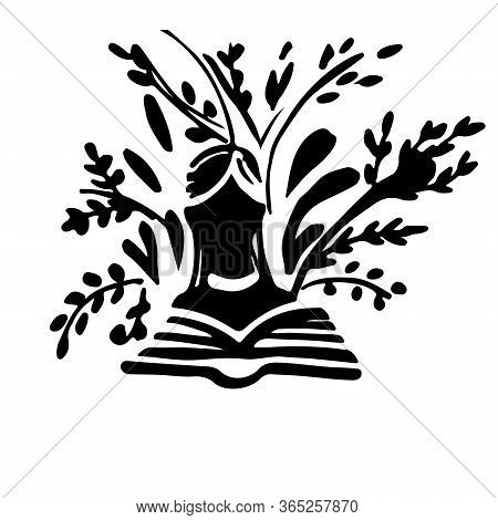 Black Silhouette Girl Reading The Book And Vegetation Flat Vector Illustration On White Background