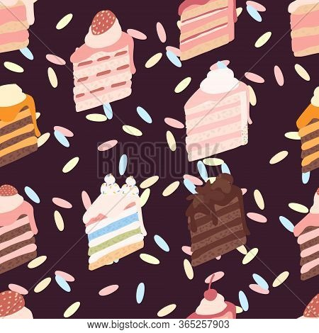 Seamless Pattern Piece Of Cake With Different Ingredients Cream-topped Multi-layer Cake Flat Vector
