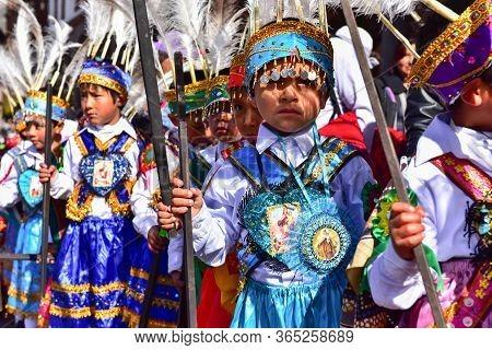 Cusco, Cusco, Peru - June 10, 2017: Little Kids In Traditional Inca Costumes During Local Festival I