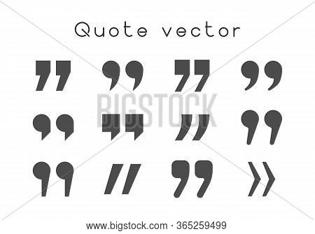 Quotation Marks Black Characters Isolated On White Background. Set Of Quotes Icons, Citation Symbol.
